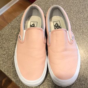 Vans leather slip on shoes, worn once. Pink/peach